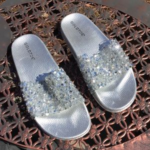 New Gold Toe Silver Sparkly Slides Size 8